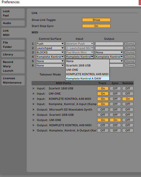 Select Komplete Kontrol DAW input output