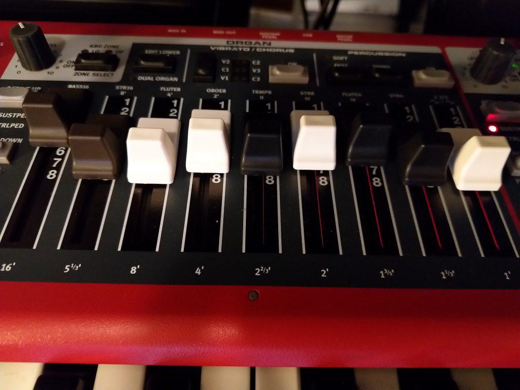 Organ register sliders